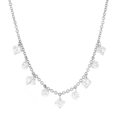 Floating Mixed Shape Diamond Necklace