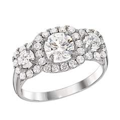 FOREVERMARK Center of My Universe Three Stone Halo Diamond Ring