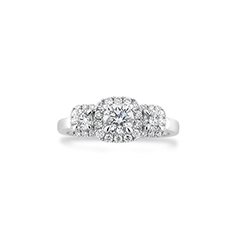 FOREVERMARK Three Stone Halo Ring