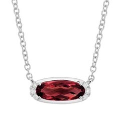 Garnet & Diamond Birthstone Necklace