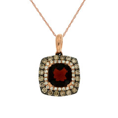 Garnet, Diamond & Champagne Diamond Pendant