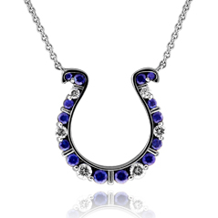 GO BLUE Diamond & Sapphire Horseshoe Necklace