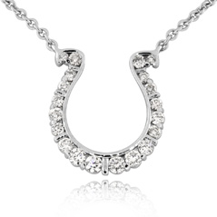 GO BLUE Diamond Horseshoe Necklace