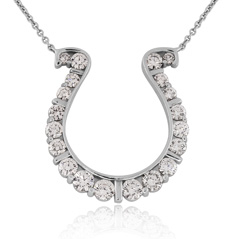 GO BLUE Large Diamond Horseshoe Necklace