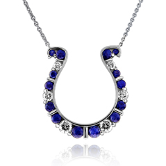 GO BLUE Large Sapphire & Diamond Horseshoe Necklace