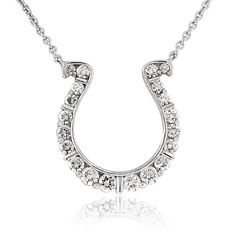 GO BLUE Medium Diamond Horseshoe Necklace