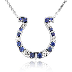 GO BLUE Medium Sapphire and Diamond Horseshoe Necklace