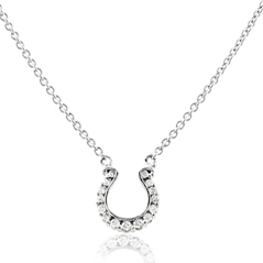 GO BLUE Mini Diamond Horseshoe Necklace