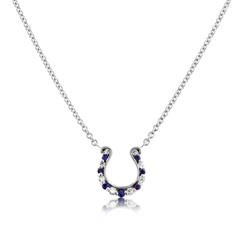 GO BLUE Mini Sapphire & Diamond Horseshoe Necklace