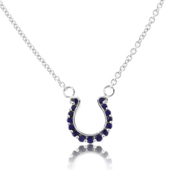 GO BLUE Mini Sapphire Horseshoe Necklace