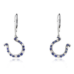 GO BLUE Sapphire and Diamond Horseshoe Dangle Earrings