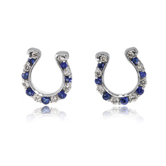 GO BLUE Sapphire and Diamond Horseshoe Earrings