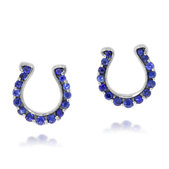 GO BLUE Sapphire Horseshoe Earrings