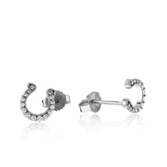 GO BLUE Small Diamond Horseshoe Earrings