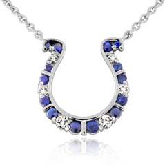 GO BLUE Small Sapphire and Diamond Horseshoe Necklace