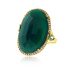 Green Agate Oval Fashion Ring