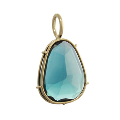 HEATHER MOORE 14K Yellow Gold London Blue Topaz Harriet Charm