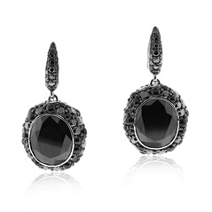 Hematite, Black Diamond and Black Onyx Earrings