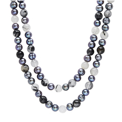 HONORA Black Pearl & Rutile Bead Necklace