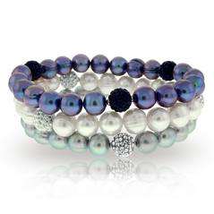 HONORA Black, White & Gray Pearl & Crystal Bracelets