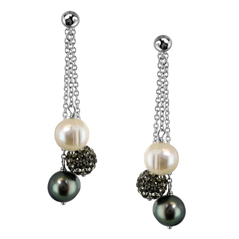 HONORA Black, White, & Gray Pearl Dangle Earrings