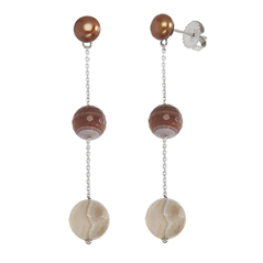HONORA Chocolate Pearl & Botswana Agate Bead Earrings