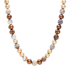 HONORA Chocolate Pearl & Botswana Agate Beaded Necklace