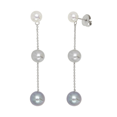 HONORA Grey & White Ombre Pearl Earrings