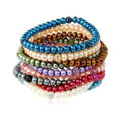 HONORA Multi-Colored Pearl & Crystal Bead Bracelet Set