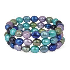 HONORA Peacock Baroque Pearl Stretch Bracelets