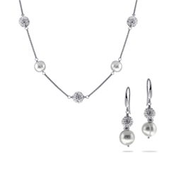HONORA Pearl & Crystal Necklace & Earring Set