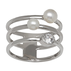 HONORA Pearl & White Topaz Ring