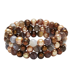 HONORA Set of Three Chocolate Pearl & Botsawana Agate Bead Bracelets