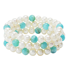 HONORA Set of Three Pearl & Amazonite Bead Bracelets