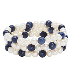 HONORA Set of Three Pearl & Dumortierite Bead Bracelets