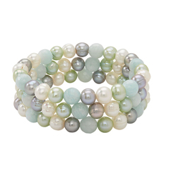 HONORA Set of Three White, Celedon & Grey Pearl Bracelets
