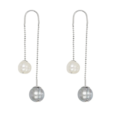 HONORA Threader Pearl Earrings