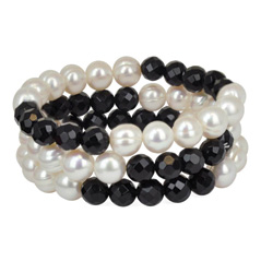 HONORA White Pearl and Onyx Stretch Bracelets