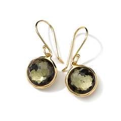 IPPOLITA 18K Gold Rock Candy Mini Lollipop Earrings in Green Gold Citrine and Pyrite Doublet