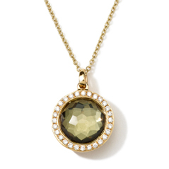IPPOLITA 18K Gold Rock Candy Mini Lollipop Pendant in Green Gold Citrine and Pyrite Doublet with Diamonds