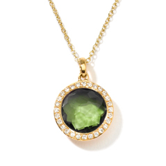 IPPOLITA 18K Gold Rock Candy Mini Lollipop Pendant in Peridot with Diamonds