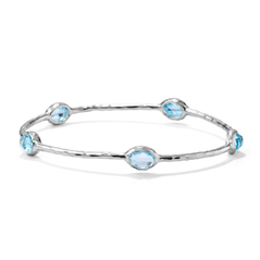 IPPOLITA Rock Candy Five Stone Bangle in Blue Topaz