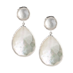 IPPOLITA Silver Snowman Earrings in Mother-of-Pearl Quartz