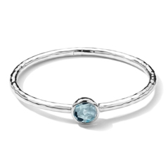 IPPOLITA Sterling Silver Rock Candy Hinge Bangle in Blue Topaz
