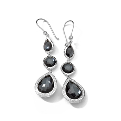 IPPOLITA Sterling Silver Stella 3-Stone Drop Earrings in Hematite Doublet with Diamonds