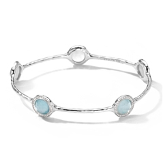 IPPOLITA Sterling Silver Stella 5-Stone Bangle in Blue Topaz and Mother-of-Pearl Doublet with Diamonds