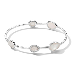 IPPOLITA Sterling Silver Stella 5-Stone Bangle in Mother of Pearl Doublet with Diamonds