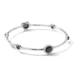 IPPOLITA Sterling Silver Stella 7-Stone Mini Lollipop Bangle in Hematite Doublet with Diamonds