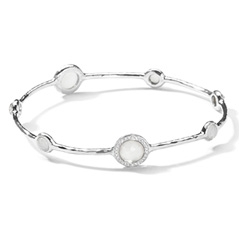 IPPOLITA Sterling Silver Stella 7-Stone Mini Lollipop Bangle in Mother-of-Pearl Doublet with Diamonds