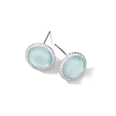 IPPOLITA Sterling Silver Stella Lollipop Studs in Blue Topaz and Mother-of-Pearl Doublet with Diamonds